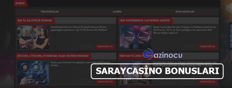 Saraycasino Bonusları